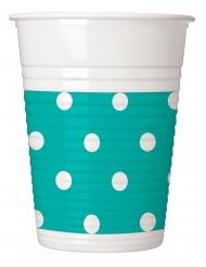 8 Gobelets en plastique turquoise à pois 200 ml