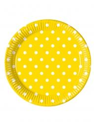 8 Assiettes en carton jaune à pois 23 cm
