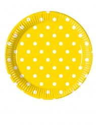 8 Petites assiettes en carton jaune à pois 20 cm