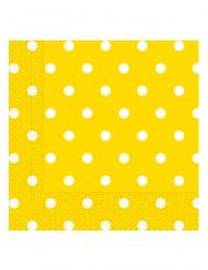 20 Serviettes en papier jaune à pois 33 x 33 cm