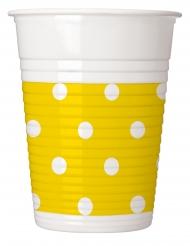 8 Gobelets en plastique jaune à pois 200 ml