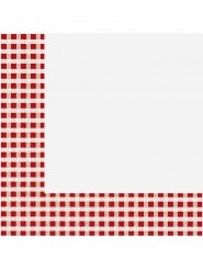 20 Serviettes en papier vichy rouge et blanc 33 x 33 cm