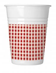 10 Gobelets en plastique vichy rouge et blanc 200 ml