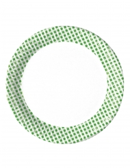 10 Assiettes en carton vichy vert et blanc 23 cm