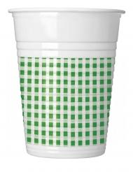 10 Gobelets en plastique vichy vert et blanc 200 ml