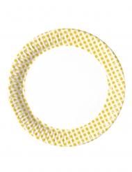 10 Minis assiettes en carton vichy jaune et blanc 16 cm