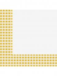 20 Serviettes en papier vichy jaune et blanc 33 x 33 cm
