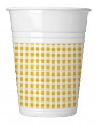 10 Gobelets en plastique vichy jaune et blanc 200 ml