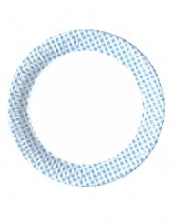 10 Assiettes en carton vichy bleu ciel et blanc 23 cm