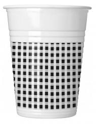 10 Gobelets en plastique vichy noir et blanc 200 ml