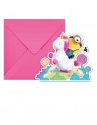 6 Cartons d'invitation avec enveloppes Minions Licorne™