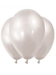 12 Ballons métallisés blanc perles 28 cm