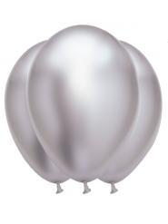 6 Ballons en latex argentés satinés 31 x 39 cm