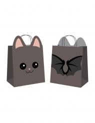 4 Sacs en papier chasse aux bonbons sweety bat noirs 19 x 8 x 22 cm