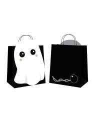 4 Sacs en papier chasse aux bonbons sweety ghost noirs 19 x 8 x 22 cm