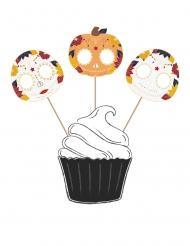 3 Cake toppers en bois Dia de los Muertos 20 cm