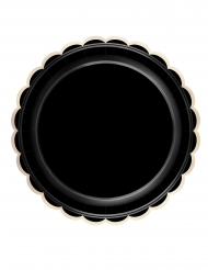8 Assiettes en carton noires et dorées festonnées 23 cm