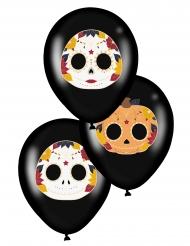 6 Ballons en latex dia de los muertos noirs 28 cm