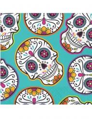 16 Serviettes en papier day of the dead multicolores 33 x 33 cm