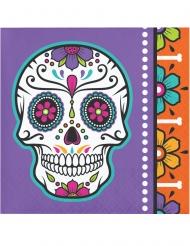 16 Petites serviettes en papier day of the dead multicolores 25 x 25 cm