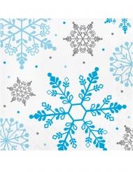 16 Petites serviettes en papier flocons de neige blanches 25 x 25 cm