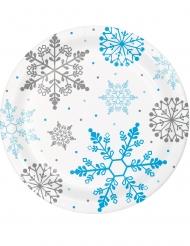 8 Assiettes en carton flocons de neige blanches 23 cm