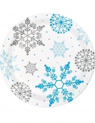 8 Petites assiettes en carton flocons de neige blanches 18 cm