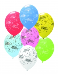 6 Ballons en latex Happy Birthday multicolore