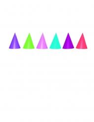 6 Chapeaux de fête cônes couleurs assorties