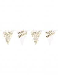 Guirlande fanions happy birthday dorée luxe 6 m