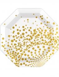 6 Assiettes dorées luxe 23 cm