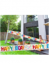 Banderole happy birthday points multicolores 15 m