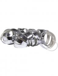 2 Rouleaux de serpentins argent métallique 4 m