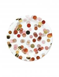 8 Assiettes en carton confettis rouges 24 cm
