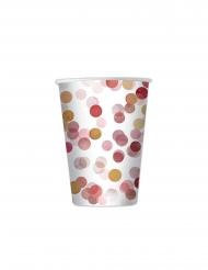 8 Gobelets en carton confettis rouges 200 ml