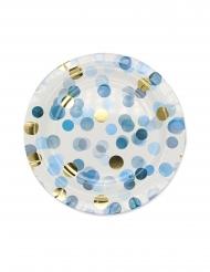 8 Assiettes en carton confettis bleus 24 cm