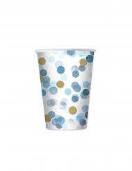 8 Gobelets en carton confettis bleus 200 ml