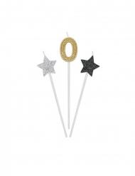 3 Bougies d'anniversaire chiffre dorées, argentées et noires 16 cm