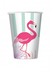 8 Gobelets en carton flamingo party 200 ml