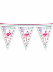 Guirlande de fanions en plastique flamingo party 600 x 25 cm