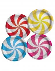 8 Assiettes en carton confiseries multicolores 24 cm