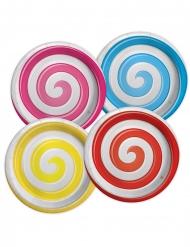 8 Petites assiettes en carton confiseries multicolores 18 cm