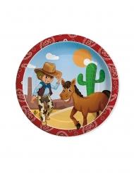 8 Assiettes en carton cowboy 24 cm
