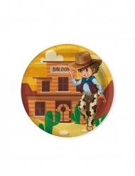 8 Petites assiettes en carton cowboy 18 cm