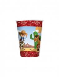 8 Gobelets en carton cowboy 200 ml