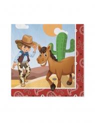 20 Serviettes en papier cowboy 33 x 33 cm