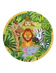 8 Assiettes en carton jungle 24 cm