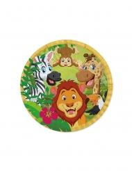 8 Petites assiettes en carton jungle 18 cm