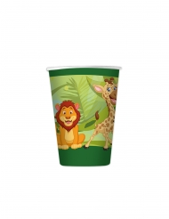 8 Gobelets en carton jungle 200 ml