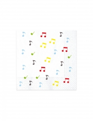 20 Serviettes en papier music party blanches 33 x 33 cm